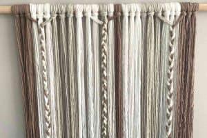 Yarn Wall Hanging grey, white, brown