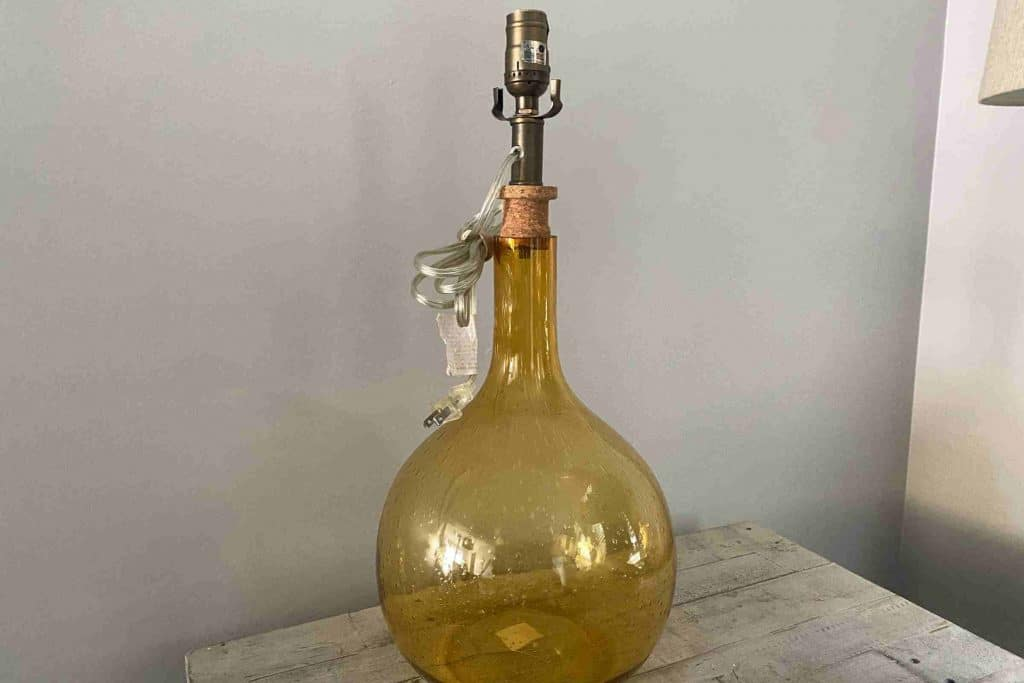 thrift store lamp USED TO MAKE DIY AGED VASE