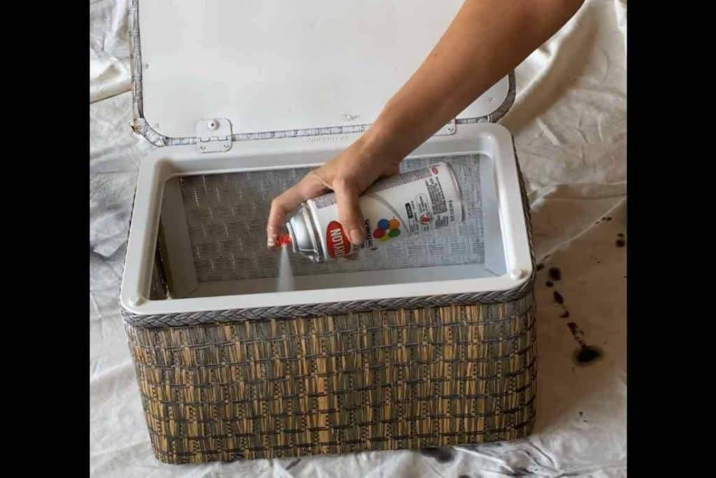 spray paint inside of sewing basket