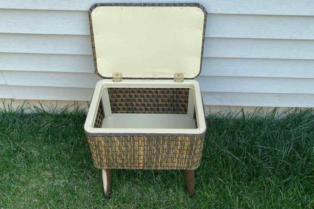 vintage sewing box on legs before sewing basket makeover