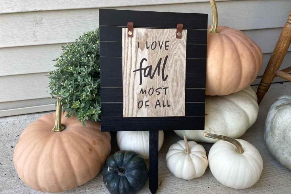target dollar spot fall sign diy using mini harvest reversible sign and yard sign